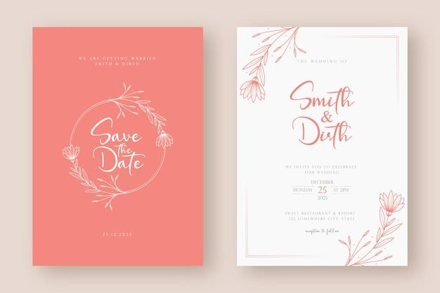 Modelo minimalista de cartão de convite de casamento com ilustração de grinalda floral em estilo de arte de linha Vetor Premium