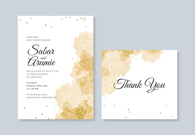 Modelo minimalista de cartão de convite de casamento