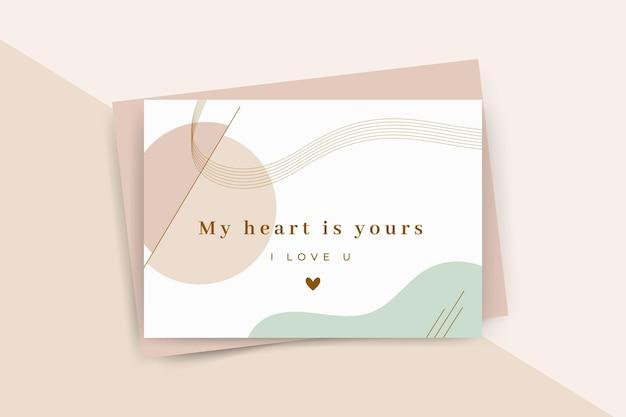 Modelo minimalista de cartão de dia dos namorados