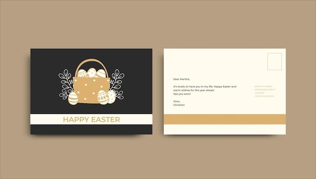 Modelo minimalista de cartão postal da páscoa desenhado à mão