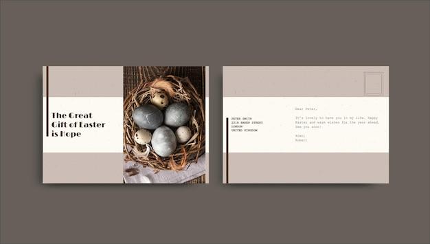 Modelo minimalista de cartão-postal da páscoa vintage