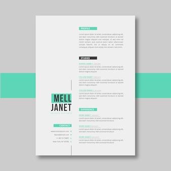 Modelo minimalista de curriculum vitae verde pastel