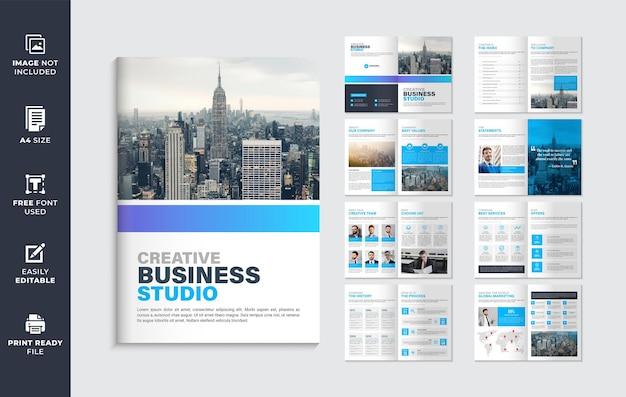Modelo minimalista de folheto da empresa com várias páginas ou layout de design do modelo de folheto do perfil da empresa