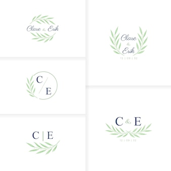 Modelo minimalista de logotipo de casamento com monograma desenhado à mão