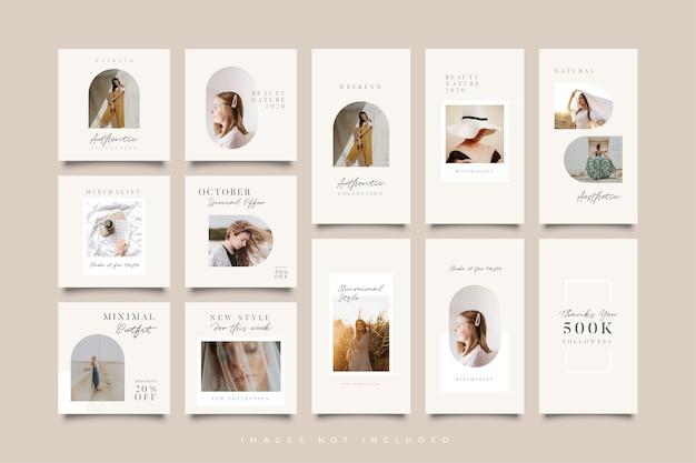 Modelo minimalista de postagens e histórias em redes sociais