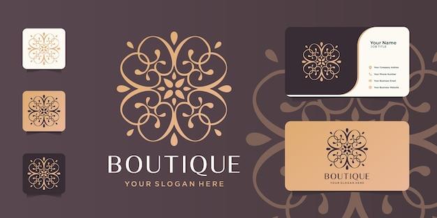 Modelo minimalista do monograma da arte abstract.elegant da arte do boutique, elegante, cartão de visita.