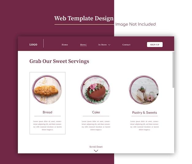 Modelo mínimo da web para padaria ou menu de restaurante ou design de página de destino com pinceladas