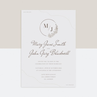 Modelo mínimo de convite de casamento desenhado à mão