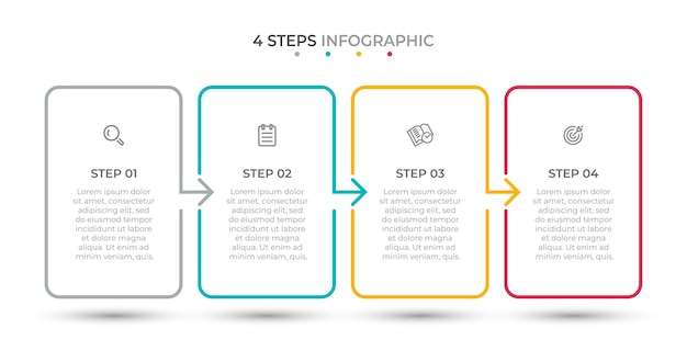 Modelo mínimo de infográfico de linha fina 4 opções ou etapas