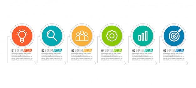Modelo mínimo de infográficos de negócios com 6 etapas