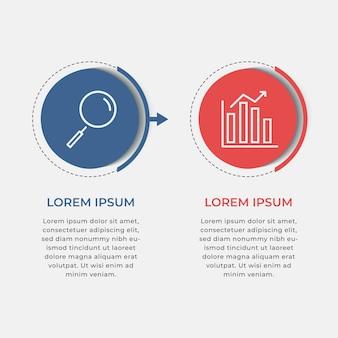 Modelo mínimo de infográficos de negócios. linha do tempo com 2 etapas, opções.