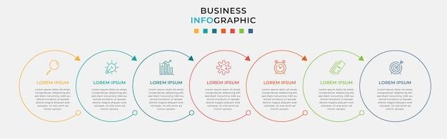 Modelo mínimo de infográficos de negócios. linha do tempo com sete etapas, opções e ícones de marketing