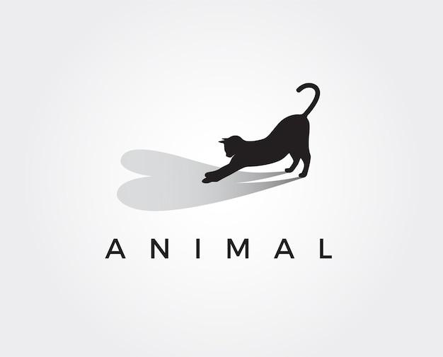 Modelo mínimo de logotipo de amor de gato