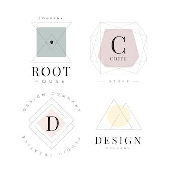 Modelo mínimo de logotipo definido com cores pastel