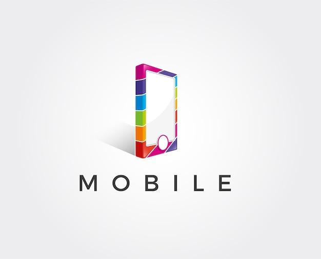 Modelo mínimo de logotipo para celular - ilustração vetorial