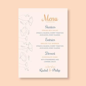 Modelo mínimo de menu de casamento