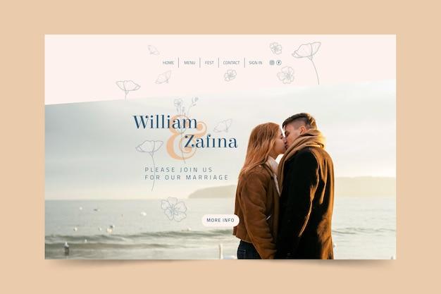 Modelo mínimo de página de destino de casamento