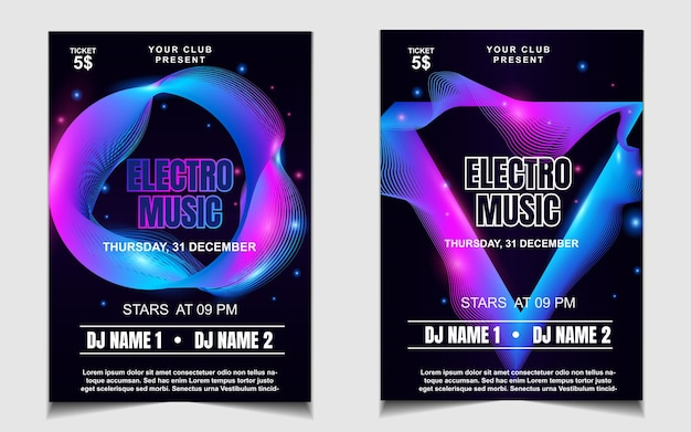 Modelo mínimo de pôster para festival de música electro com luz colorida
