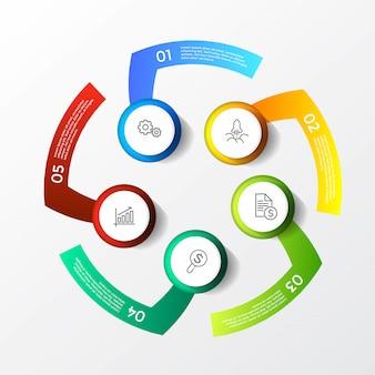 Modelo moderno colorido infográfico