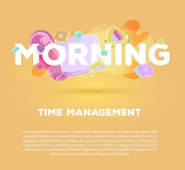 Modelo moderno com elementos de cristal brilhante e palavra manhã sobre fundo amarelo com sombra, título e texto.
