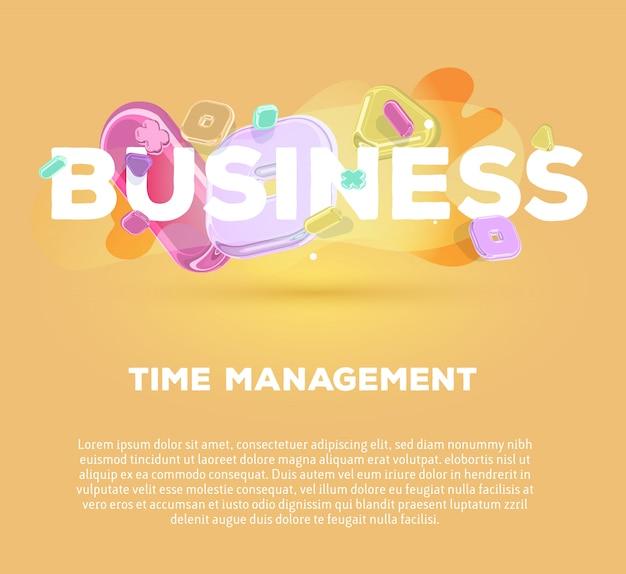Modelo moderno com elementos de cristal brilhante e palavra negócio em fundo laranja com título e texto.