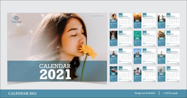 Modelo moderno de calendário 2021