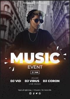 Modelo moderno de cartaz de evento de música