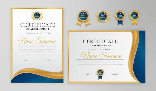 Modelo moderno de certificado azul e dourado