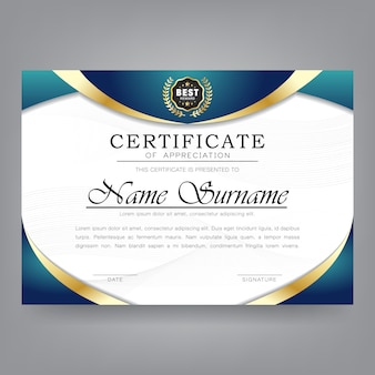 Modelo moderno de certificado de apreciação