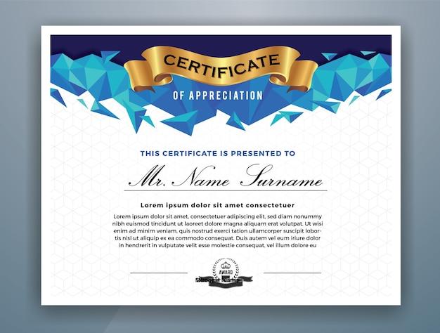 Modelo moderno de certificado de realização