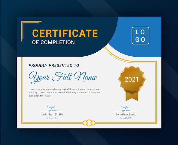 Modelo moderno de certificado premium azul e dourado