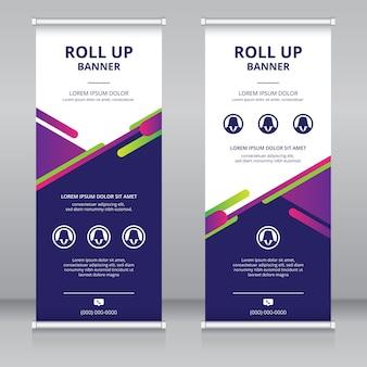 Modelo moderno de design de banner enrolado