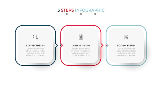 Modelo moderno de infográfico com ícones e setas