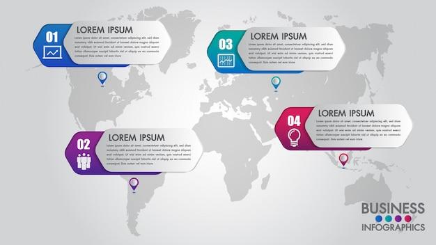 Modelo moderno de infográficos para negócios com 4 passos