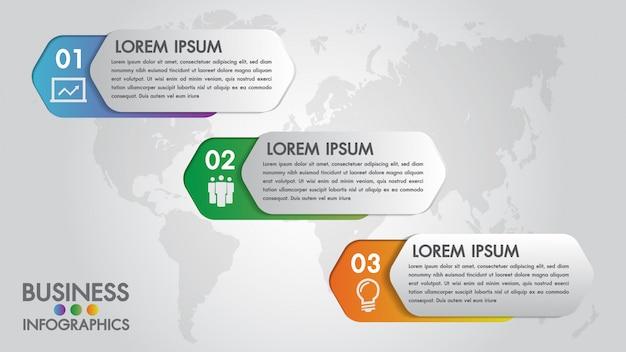 Modelo moderno de infográficos para negócios com ícones de 3 passos