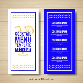 Modelo moderno de menu de cocktail azul e branco