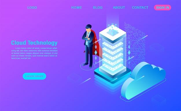 Modelo moderno de página de destino de tecnologia e rede em nuvem