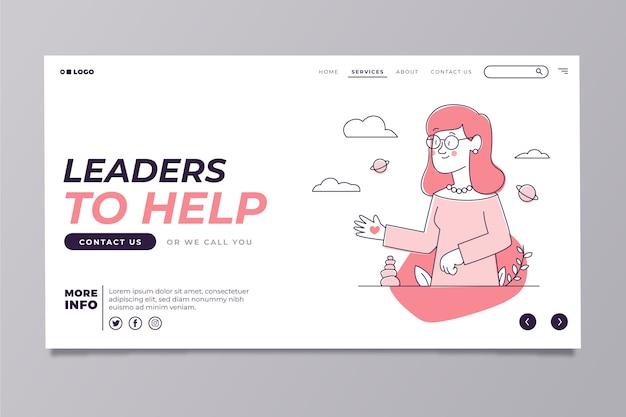 Modelo moderno de página inicial com mulher bonita ilustrada