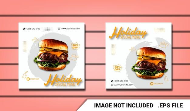 Modelo moderno de postagem de hambúrguer de mídia social