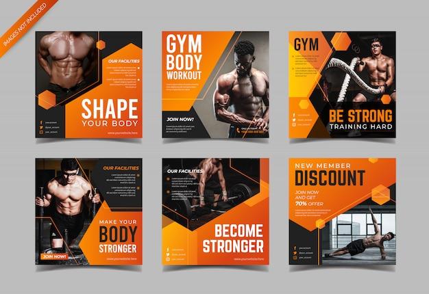 Modelo moderno de postagem de mídia social de fitness e ginásio