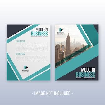 Modelo moderno de relatório e panfleto anual de negócios