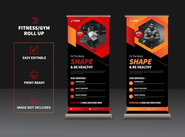 Modelo moderno de rollup de fitness e academia