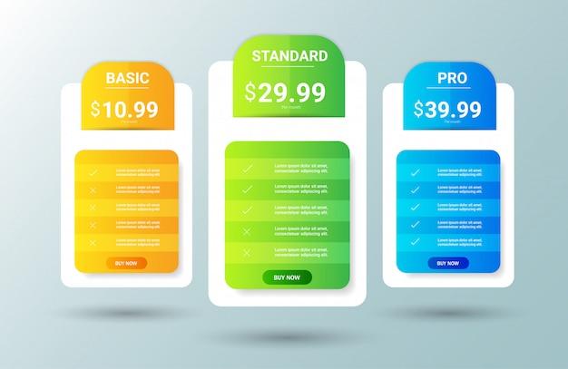 Modelo moderno de tabela de preços