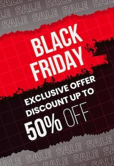 Modelo moderno de venda de sexta-feira negra com tema de papel rasgado