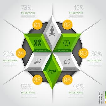 Modelo moderno do círculo do diagrama do negócio 3d.