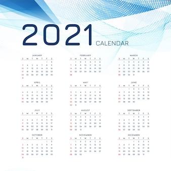 Modelo moderno elegante de calendário de ano novo de 2021
