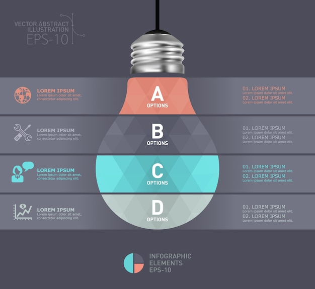 Modelo moderno infográfico de lâmpada