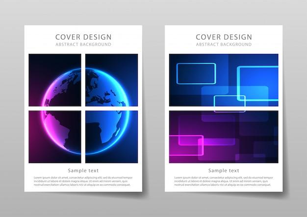 Modelo moderno para brochura, folheto, panfleto, capa. estrutura para resumo de tecnologia