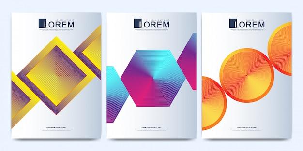 Modelo moderno para folheto, folheto, panfleto, capa, catálogo, revista ou relatório anual em tamanho a4. formas simples com gradientes