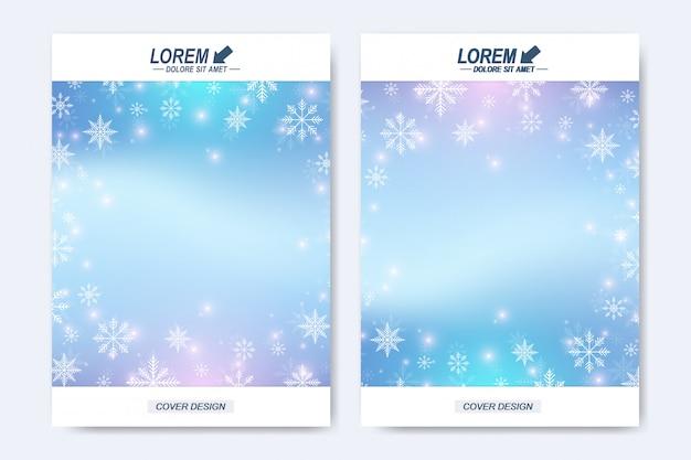 Modelo moderno para folheto folheto panfleto capa catálogo revista ou relatório anual. layout de natal e feliz ano novo em tamanho a4. fundo de inverno com flocos de neve.